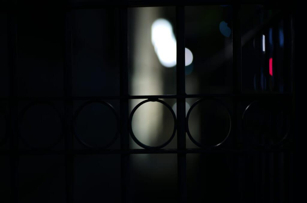 綿業会館の柵にピントを合わせた写真