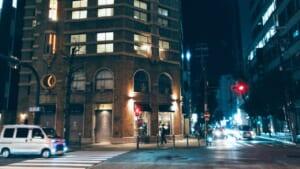 大阪のモダン建築と夜景