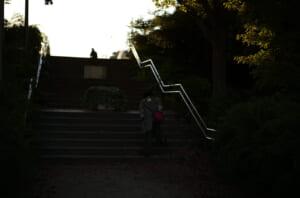 これから階段を登る後ろ姿