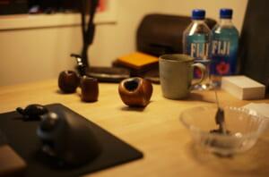お気に入りのIKEBANAパイプとテーブルの様子