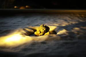 小さな石像と雪景色