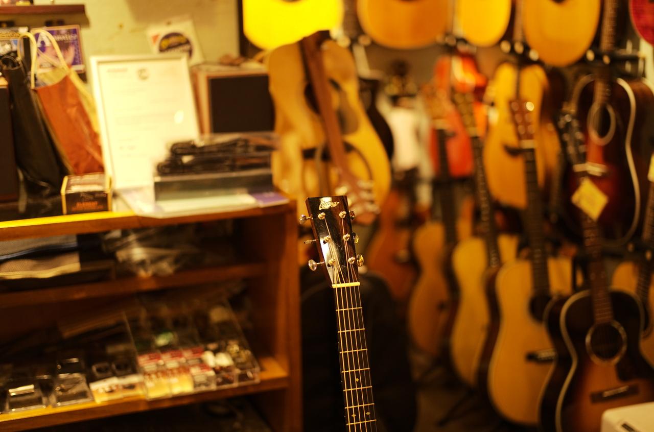 美しいギターのネックとボケ