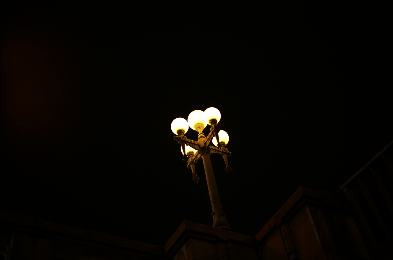 闇夜に映る美しい街灯