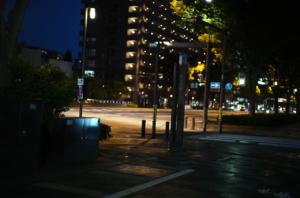 夜の御池通と街灯